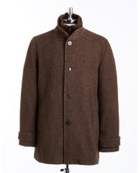Kenneth Cole - Tweed Button-Front Coat - Lyst