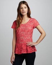 Madison Marcus - Lace Peplum Top - Lyst