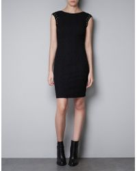 Zara Jacquard Dress with Mirror Stones - Lyst