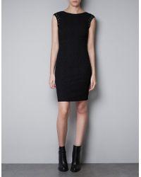 Zara Jacquard Dress with Mirror Stones - Lyst