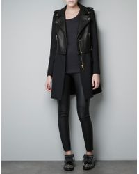 Zara Leather Biker Coat - Lyst