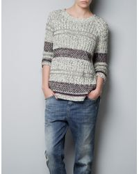 Zara Striped Jacquard Pattern Sweater - Lyst