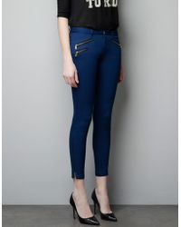 Zara Trousers with Zips - Lyst