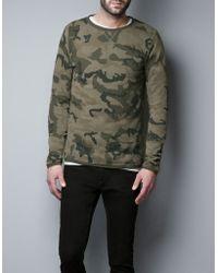 Zara Khaki Camouflage Sweatshirt - Lyst