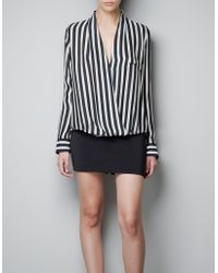 Zara Striped Wrap Blouse - Lyst