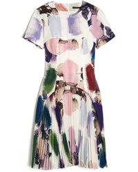 Christopher Kane Print Corset Pleat Dress - Lyst