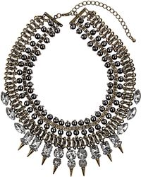 Topshop Box Spike Mesh Necklace gray - Lyst