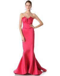 Zac Posen Duchesse Satin Gown pink - Lyst
