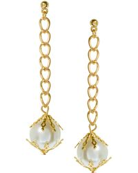 Asos Filigree Pearl and Chain Drop Earrings - Lyst
