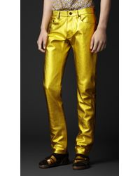 Burberry Prorsum - Metallic Leather Jeans - Lyst