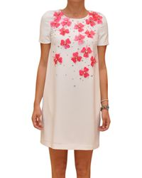 P.A.R.O.S.H. Aire Jersey Dress With Flower Applications pink - Lyst