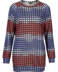 Topshop Longline Ombre Check Sweat red - Lyst