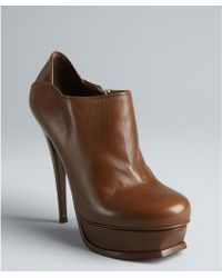 Saint Laurent Brown Leather Tribute 105 Booties - Lyst