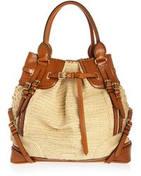 Burberry Prorsum - Woven Raffia-effect and Leather Bag - Lyst