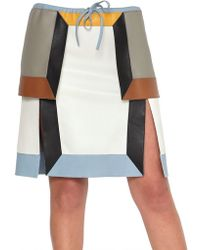 Fendi Multi Tone Nappa Leather Skirt - Lyst