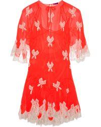 Meadham Kirchhoff - Laceappliquéd Chiffon Mini Dress - Lyst