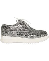 CoSTUME NATIONAL - 30mm Glittery Leather Lace-up Shoes - Lyst