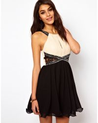 Little Mistress Lace Insert Embellished Prom Dress - Lyst