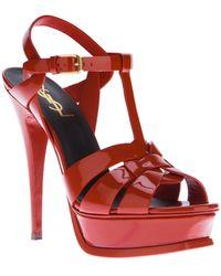 Saint Laurent Stiletto Sandal red - Lyst