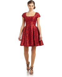 Zac Posen Leopard Print Taffeta Dress red - Lyst