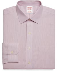 Brooks Brothers Supima Cotton Noniron Traditional Fit Alternating Triple Stripe Dress Shirt - Lyst