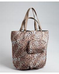 Kooba Light Brown Leopard Print Nylon 'Audra' Reversible Tote - Lyst