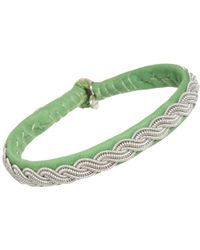 Maria Rudman - Narrow Leather Pewter Embroidered Bracelet - Lyst