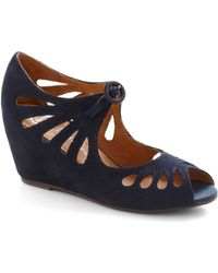 Jeffrey Campbell Cutout Cookie Wedge in Blueberry - Lyst