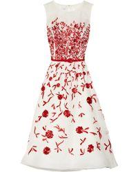 Oscar de la Renta Embroidered Silkorganza Dress white - Lyst