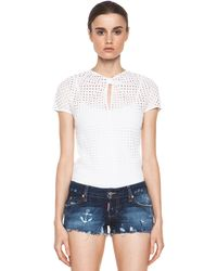 Pierre Balmain Eyelet Top in White - Lyst