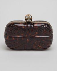 Alexander McQueen Britannia Skull Clasp Clutch Bag - Lyst