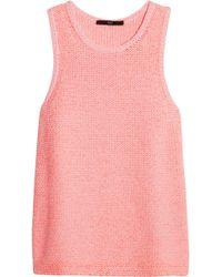 Tibi Chunkyknit Cottonblend Top pink - Lyst