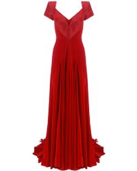 Zac Posen Silk Pleat Gown - Lyst