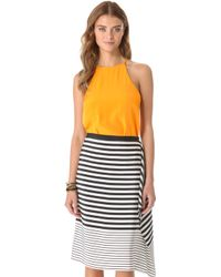 Tibi Silk Halter Top - Lyst