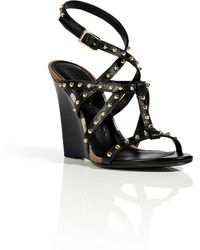 Burberry Black Studded Leather Towney Wedges - Lyst