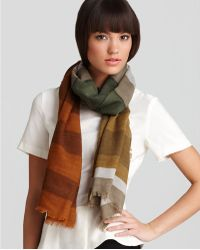 Burberry Over-Printed Stripe Wool Scarf green - Lyst