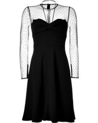 Valentino Black Dotted Silk Dress - Lyst