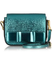 Burberry Prorsum - Metallic Texturedleather Shoulder Bag - Lyst