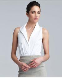 Donna Karan New York Jerseyback Poplin Bodysuit White - Lyst