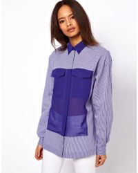 ASOS Collection Asos Shirt in Gingham with Chiffon Inserts - Lyst