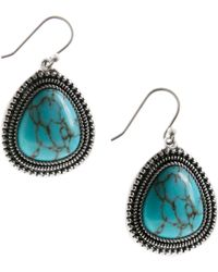 Lucky Brand - Silver Turquoise Drop Earrings - Lyst