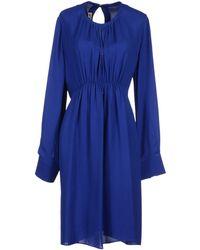 Marni Long Sleeve Round Collar Blue 3/4 Length Dress - Lyst