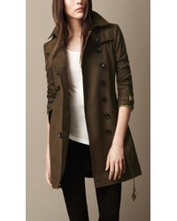 Burberry Brit Midlength Cotton Poplin Trench Coat - Lyst