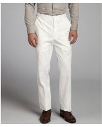 Joseph Abboud White Cotton Straight Leg Trousers - Lyst