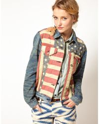 Ralph Lauren Denim Jacket with Flag - Lyst
