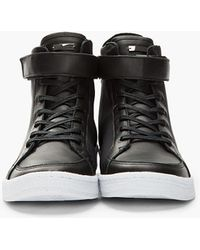 a2ec9d5eaf73 Adidas SLVR - Black Hightop Textile and Leather Cupsole Sneakers - Lyst