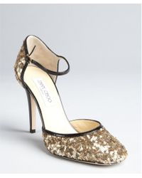 Jimmy Choo Gold Sequinned Patent Leather Trimmed Tessa Pumps - Lyst