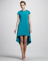 Nha Khanh Capsleeve Highlow Dress Teal - Lyst