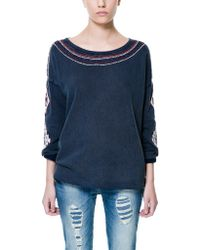 Zara Velour with Ethnic Detailing On Collar and Cuffs - Lyst