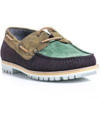 Lanvin Contrast-Panel Deck Shoes - Lyst